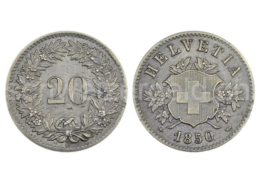 Schweizer Geld Johannes Müller Bundesmünzen 20 Rappen