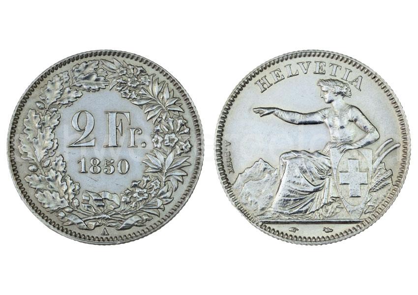 Schweizer Geld Johannes Müller Bundesmünzen 2 Franken