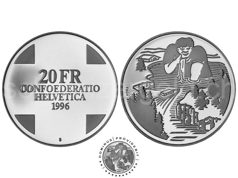 Schweizer Geld Johannes Müller Gedenkmünzen 20 Franken Silber