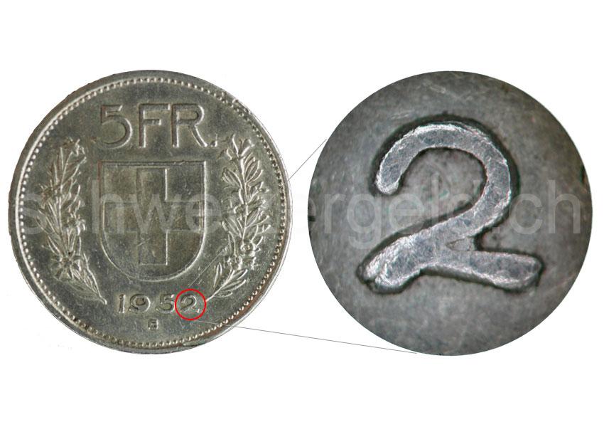 Schweizer Geld Johannes Müller Abartenfehlprägungen 5 Franken