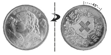 20 francs 1949, 45° rotated