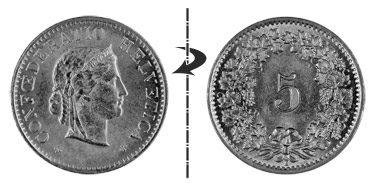 5 centimes 1906, Normal position