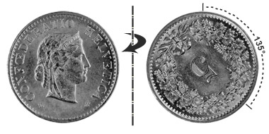 5 centimes 1963, 135° rotated