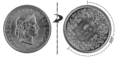 5 centimes 1955, 225° rotated