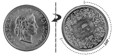5 centimes 1955, 240° rotated
