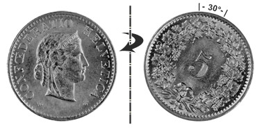 5 centimes 1906, 30° rotated