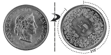 5 centimes 1885, 315° rotated