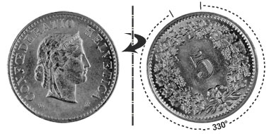 5 centimes 1963, 330° rotated