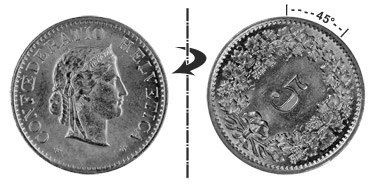 5 centimes 1940, 45° rotated