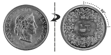 5 centimes 1906, 90° rotated